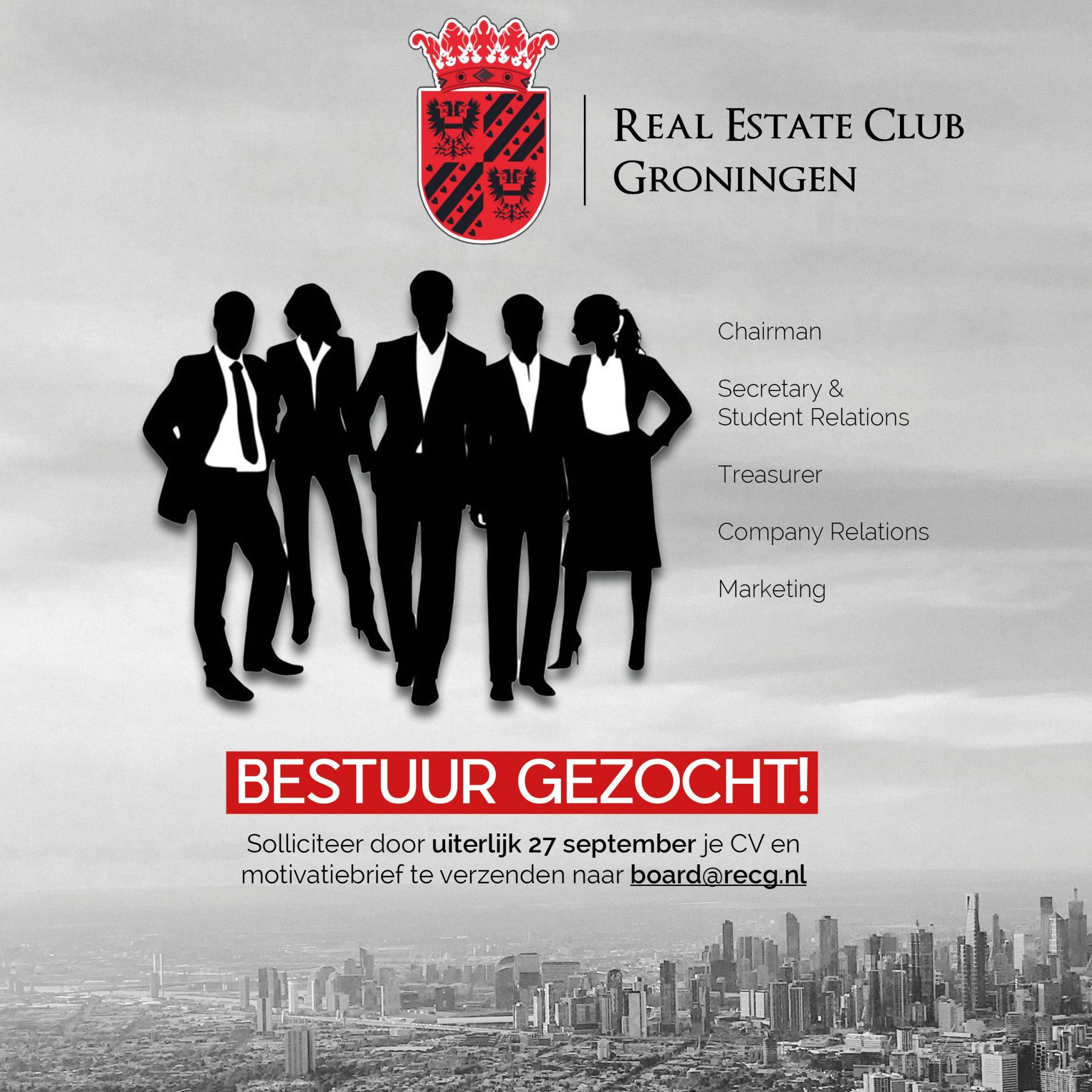 Bestuur Gezocht Poster Homepage